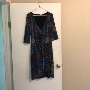 Dresses & Skirts - Faux wrap peacock dress